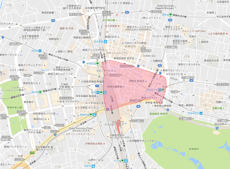 新宿3丁目の地図