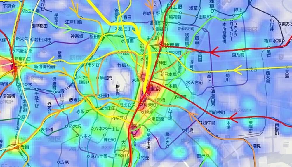 東京周辺の通勤電車混雑