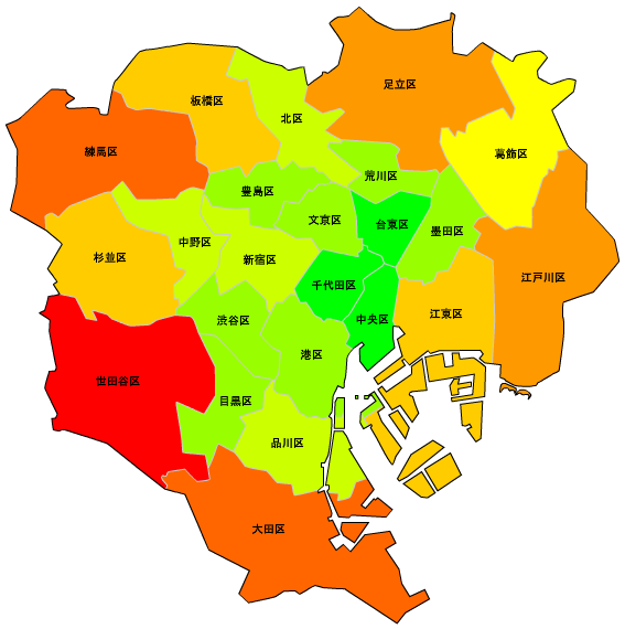 東京23区人口マップ