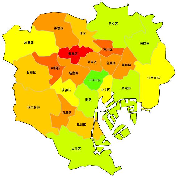 東京23区人口密度マップ