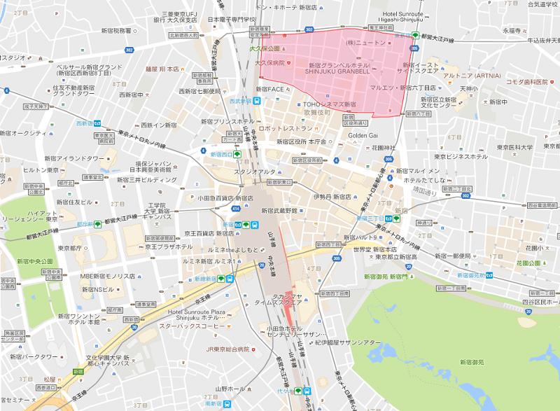 歌舞伎町2丁目の地図