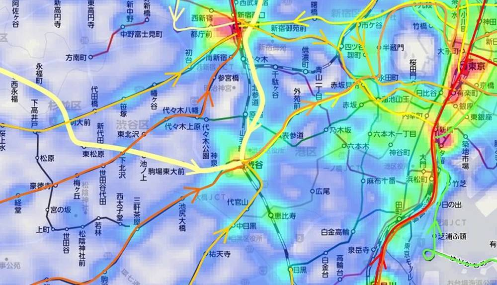渋谷周辺の通勤電車混雑