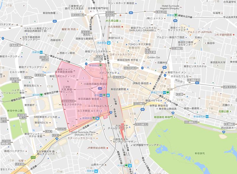 西新宿1丁目の地図