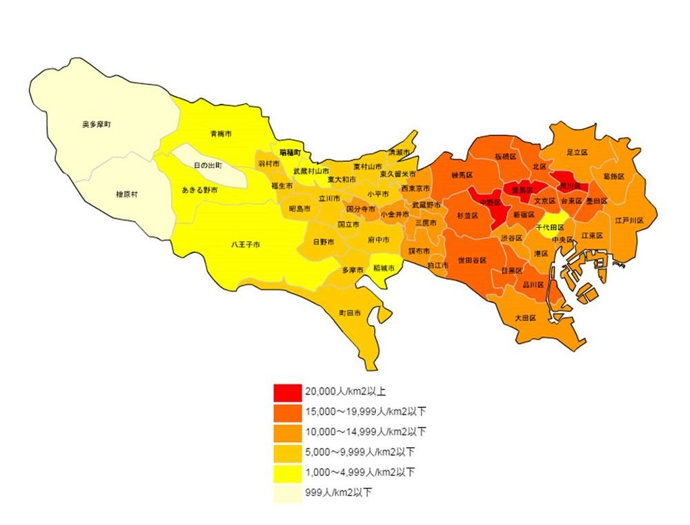 東京都の人口密度マップ