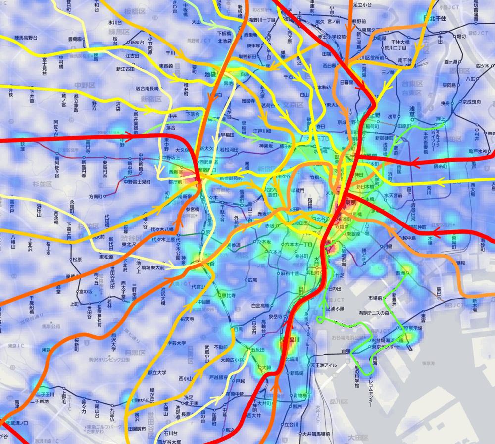 通勤電車の混雑マップ