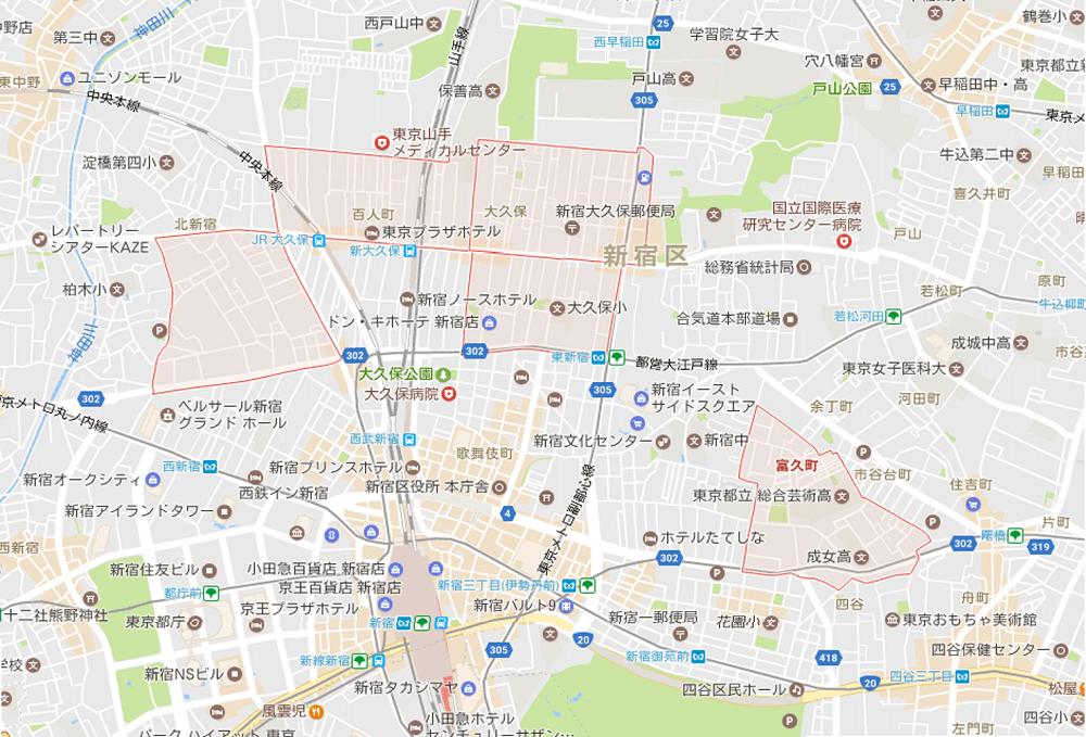 新宿区で人口が増えている町