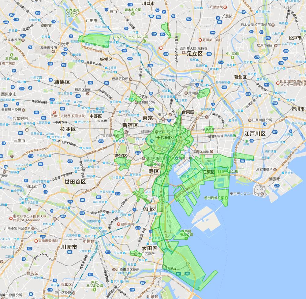 東京23区-地区内残留地区