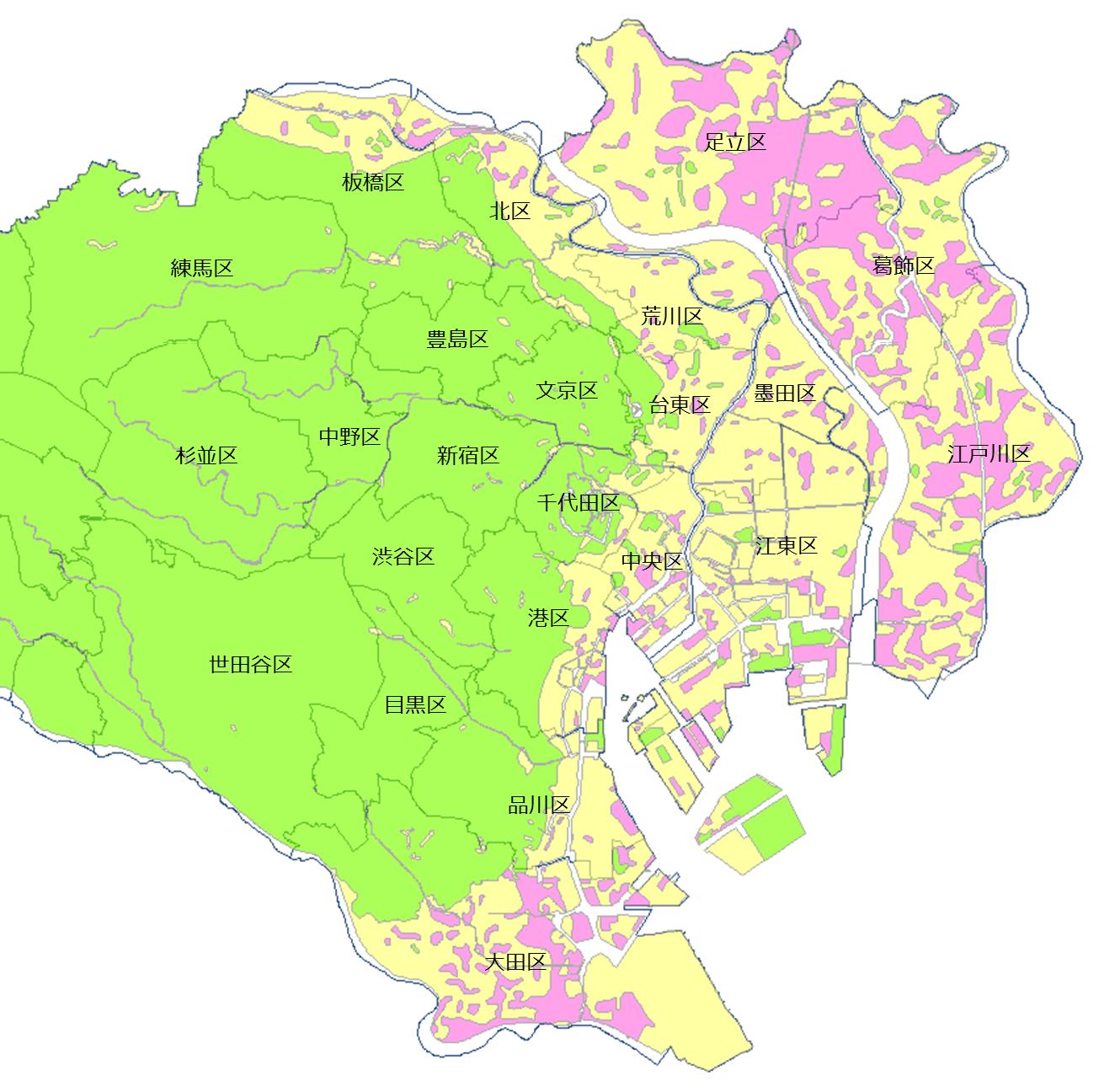 東京23区-液状化マップ