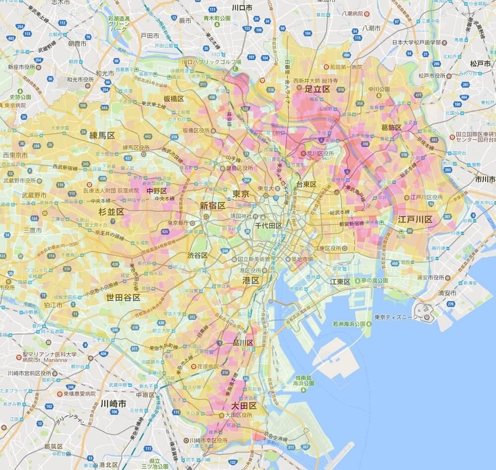 東京23区-災害時危険度マップ