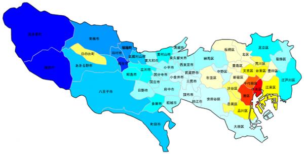 東京の人口予測_増減マップ_年齢別_10代