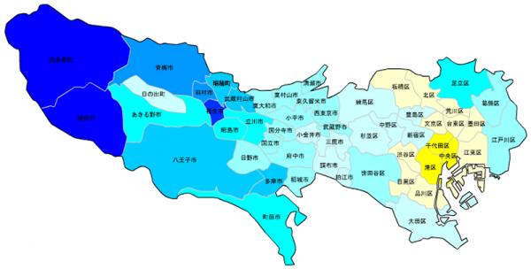 東京の人口予測_増減マップ_年齢別_10歳未満