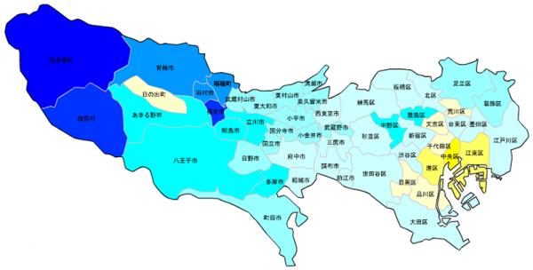 東京の人口予測_増減マップ_年齢別_20代