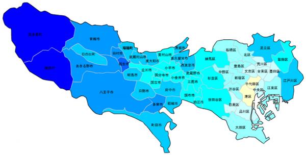 東京の人口予測_増減マップ_年齢別_40代