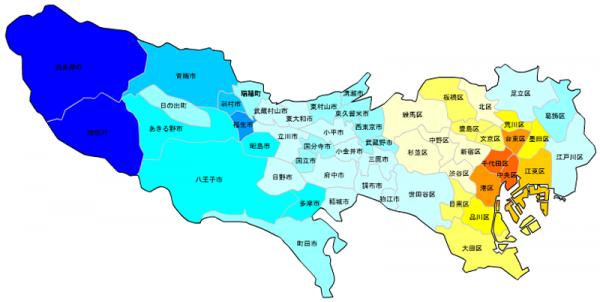 東京の人口予測_増減マップ_年齢別_50代