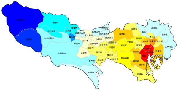 東京の人口予測_増減マップ_年齢別_60代