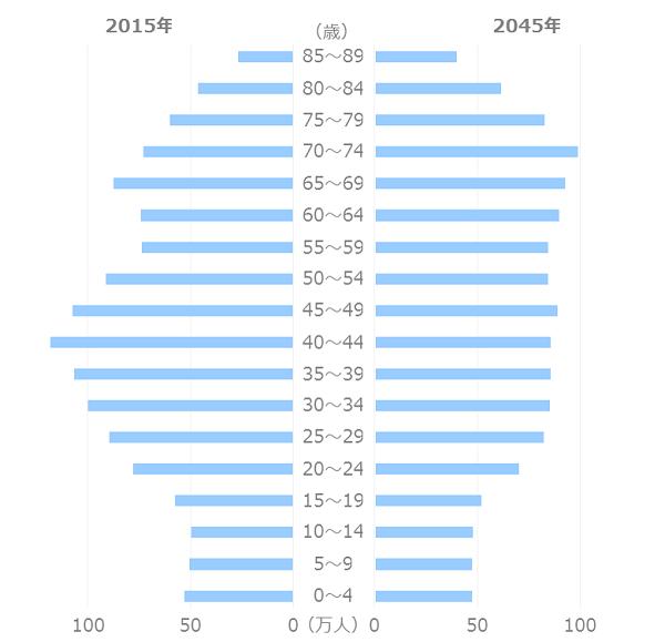 東京の人口予測_年齢別_人口ピラミッド