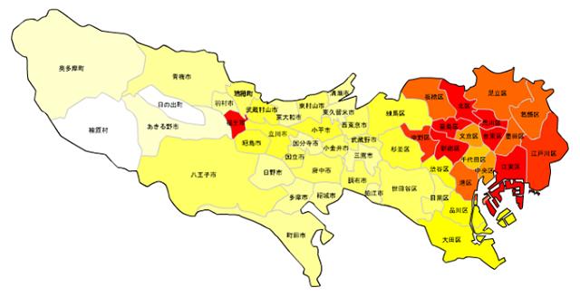 東京23区・市町村_住んでる外国人の割合_北米
