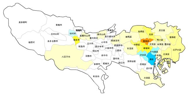 東京23区・市町村_住んでる外国人の割合_推移