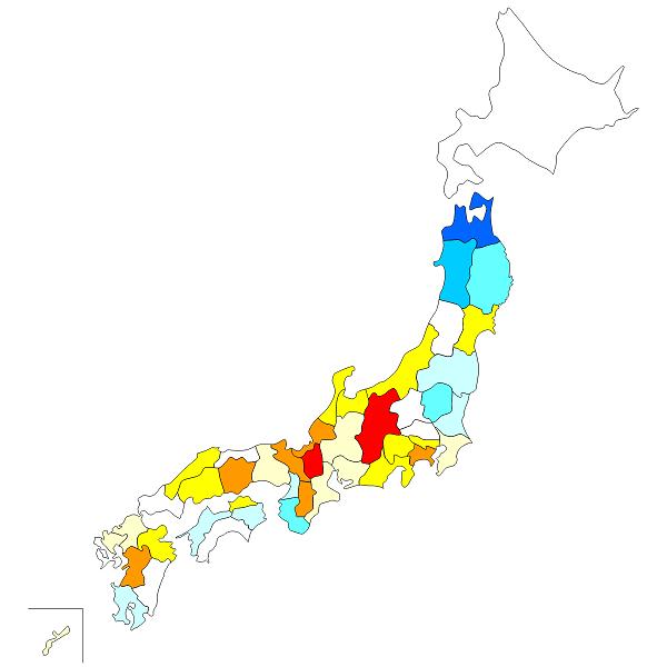 都道府県別 平均寿命 地図