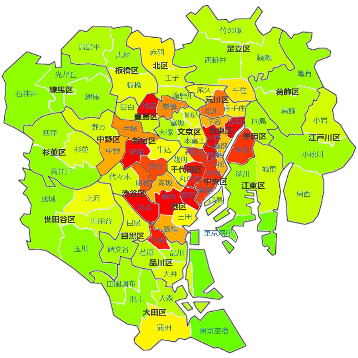 東京23区77地域_治安マップ