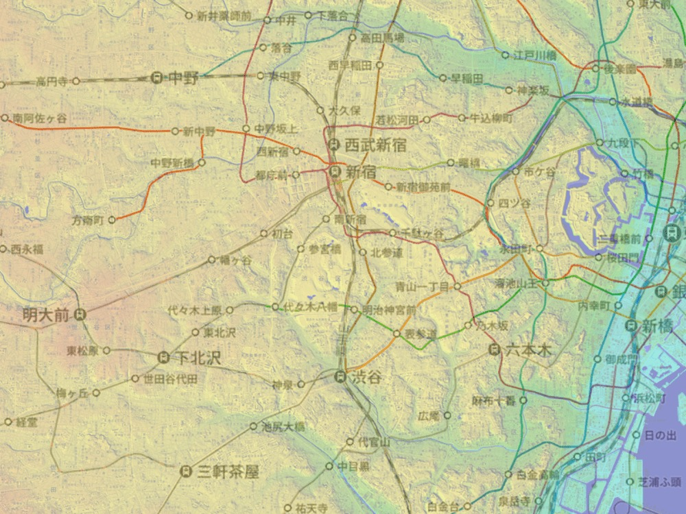 東京23区_海抜マップ_新宿・渋谷周辺